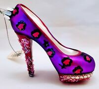 PLATFORM SHOE HAND BLOWN ORNAMENT PURPLE & PINK 4.5""