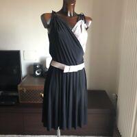 Abito Vestito Rinascimento Tg S Bicolore Panna Nero Stile Chanel