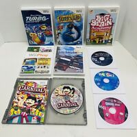 Lot of 9 Wii games- Surf's Up, Turbo , Hot wheels, Big Brain, Fast Shipping!