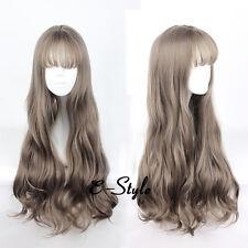 Harajuku 70CM Women Mixed Brown Curly Cosplay Heat Resistant Long Wig Lolita