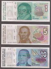 Argentina Australes  6 x Bank Notes Set Mint Condition Plastic Sleeve
