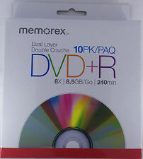 Memorex DVD+R DL 8X 8.5GB 240Min Dual Layer10pack Cake Box - Free Shipping