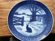 bing and grondahl plate 1971 hare in winter blue and white