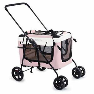 Display4top Pink Pet Travel Stroller Dog Cat Pushchair Pram Jogger Buggy
