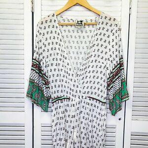Jaase Boho Jumpsuit Sz Medium Multicolour Wide Sleeve Waist Tie Paisley Bohemian