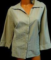 Beige striped textured 3/4 sleeve women's plus size button down top 22/24W