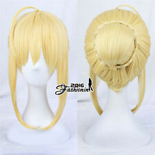 45CM Blonde Anime For Fate Stay Night Saber Cosplay Women Wig With Bun + Wig Cap