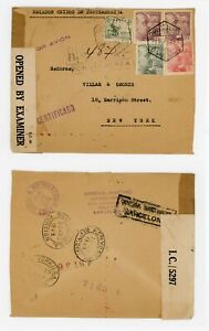 Spain to USA 1943 Registered- Censored in Bermuda and Barcelona - Scarce Label