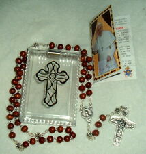 "Pope Francis Brown Wood Rosary  Original Antonio Vedele 1-1/2"" Cross ITALY CASE"