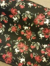 """Classic Roses Flower Floral Cotton Jersey Stretch Fabric 60""""Width Black/Red"""