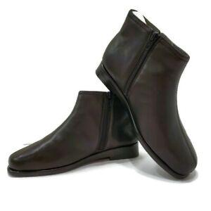 Aerosoles Womens Sz 7 W Ankle Boots Double Trouble 2 Flat Black Leather Chelsea
