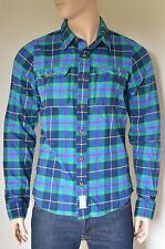NEW Abercrombie & Fitch Lake Harris Flannel Shirt Navy Blue & Green Plaid L