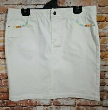 BNWT Womens Sz 18 Rockmans White Embroidered Pocket Denim Skirt RRP $49.99