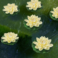 6PCS Artificial Floating Foam Lotus Flowers With Water Lily Pad Ornaments Decor