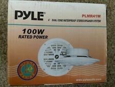 "New listing Pyle Plmr41W 4"" 100W Marine Waterproof Audio Stereo Speakers White"