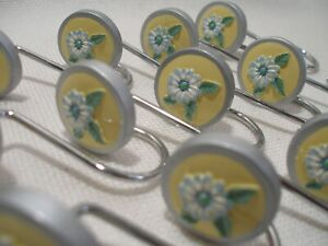 Shower Curtain Hooks Yellow & White Flowers with Blue Trim & Grey Boarder New