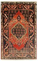 "2'5"" x 4' Hand Knotted Red Tribal Wool Nomadic Jozan Oriental Rug"