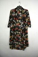 West Kei Womens Black Open Drape Front Floral Printed Waist Tie Bed Jacket S