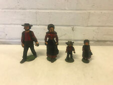 Vintage Cast Iron Amish Family Black and Red Painted Man Woman Boy & Girl