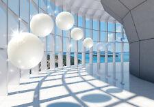 VLIES Fototapete-3D SPHERES-(10419)-Kugeln Architektur Meer Insel Sonne Abstrakt