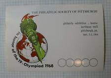Philatelic Society Of Pittsburgh Honor 19th Olymiad 1968 Souvenir Ad Label