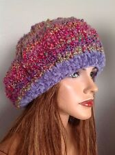 Beret Slouch  Beanie Hat Hand Knit Designer Fashion Bohemian Hip Chic Multicolor