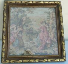 VICTORIAN FRAMED TAPESTRY NEEDLEWORK ROMANTIC SCENE BY THE LAKE
