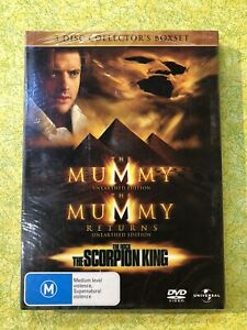 THE MUMMY - 3 DISC COLLECTORS BOXSET  - R4 DVD.  BRAND NEW & SEALED. FREE POST!