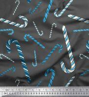 Soimoi Gray Velvet Fabric Candy Stick Kids Printed Fabric 1 metre-Zen