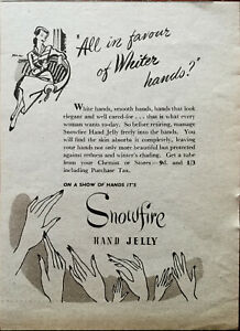 Snowfire Hand Jelly All In Favour of Whiter Hands? Base Vintage Advert 1950