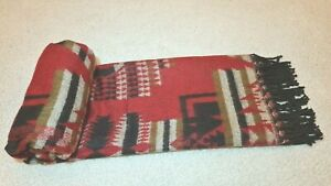 Geometrical Shawl Reversible Soft SCARF, Red Color, UNISEX, BLANKET XMAS GIFT