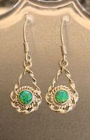 """1ct Australian Opal 925 Solid Sterling Silver Round Hook Earrings 1 1/2"""" Approx"""