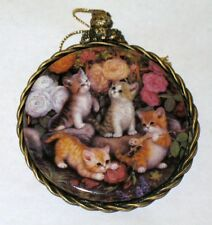 """Kitten Cats Expeditions Ornament """" AT THE ROSE ARBOR """" 1997 Bradford Exchange"""