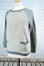 J. CREW TWEED FRONT BASEBALL SWEATER - GRAY MERINO WOOL WOMEN'S SIZE M