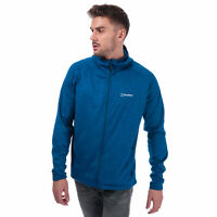 Mens Berghaus Spitzer Hooded Fleece Jacket In Blue- Zip Fastening- Drop Tail