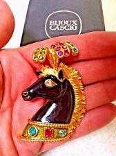 NIB BOOK PIECE! Vintage Brooch Signed Bijoux Cascio Plumed Circus Horse