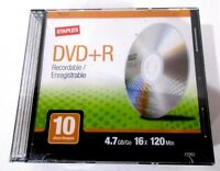 Sealed Pack of 10 DVD+R Recordable Discs Staples 120 Min. Each