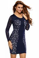 Sexy Navy Color Lace Vintage Bodycon Dress Short Size M 8 10 12