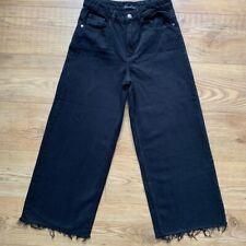 Zara Wide Leg Back Denim Jeans Frayed EUR34 UK6