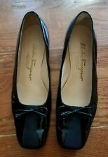 Salvatore Ferragamo Women Black Slip On Loafer Heels Shoe 8C Pre Owned