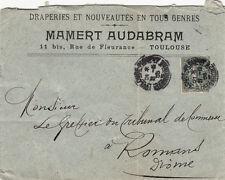 ENVELOPPE TOULOUSE rue fleurance MAMERT AUDABRAM draperie timbrée 1906