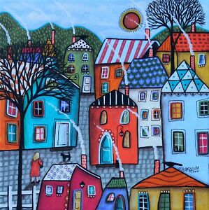 Town Stroll 12 x 12 ORIGINAL CANVAS PAINTING Folk ART PRIM WHIM Karla Gerard
