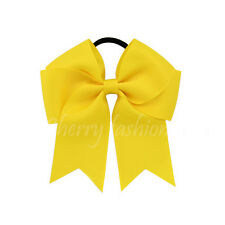 "4"" Baby Girls kids Ribbon 4 inch cheer Hair Bow Handmade Bows Elastic Bobbles"