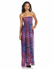 NEW ELEMENT Sz M Essence Maxi Strapless Dress Boho $55 Retail Blue Purple