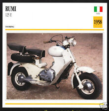 1958 Moto Rumi 125cc E Italy Scooter Moped Bike Motorcycle Photo Spec Info Card
