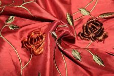 Velvet Embroidered Silk Dupioni Fabric ~ Roses In May ~ Indian Summer