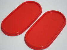 2 New Tupperware Modular Mates Oval Chili Red Seal Replacement Lid Cover MM#1616