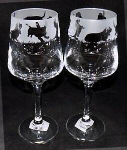 """New Etched """"BASSET HOUND"""" Wine Glass(es) - Free Gift Box - Large Wine Glass"""