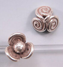 Karen Hill Tribe Silver Scroll Flower Drop Beads T137 (2)