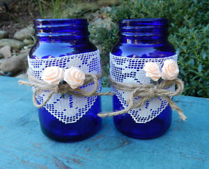 2 Cobalt Blue GLASS BOTTLES Wedding Display Decoration JARS Vanity Craft, NEW!